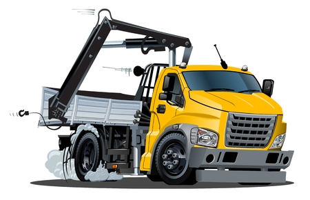 Vector Cartoon Lkw Truck with Crane. Available eps-10 vector format separated by groups and layers for easy edit