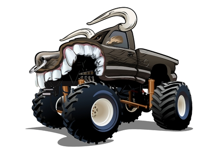 Kreskówka potwór ciężarówka. Dostępny EPS-10 oddzielony grupami i warstwami z efektami przezroczystości do odmalowania jednym kliknięciem Ilustracje wektorowe