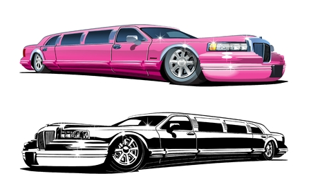 Cartoon limousines set isolated on white background. Available EPS-10 vector format separated by groups and layers for easy edit Çizim
