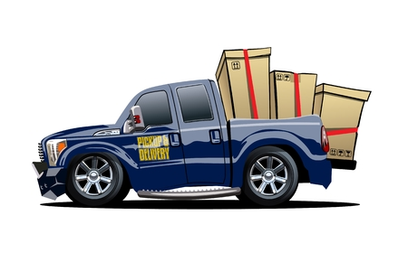 Cartoon delivery cargo pickup truck isolated on white background.