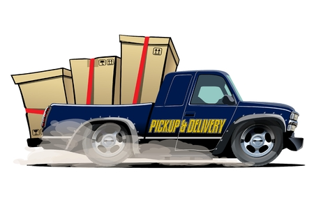 Cartoon delivery cargo pickup truck isolated on white background. Available EPS-10 vector format separated by groups and layers with transparency effects for one-click recolour
