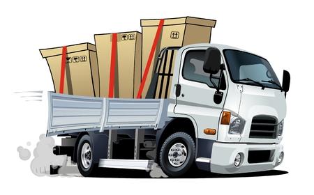 Camion de fret de livraison de dessin animé isolé sur fond blanc. Format vectoriel EPS-10 disponible séparé par groupes et calques avec effets de transparence pour une recoloration en un clic