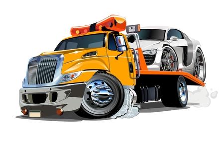 Karikatur-Abschleppwagen lokalisiert auf weißem Hintergrund. Verfügbares EPS-10-Vektorformat, getrennt durch Gruppen und Ebenen zur einfachen Bearbeitung