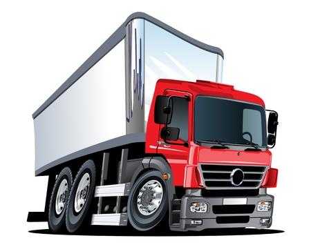 Camion de fret de livraison de dessin animé isolé sur fond blanc. Format vectoriel EPS-10 disponible séparé par groupes et calques