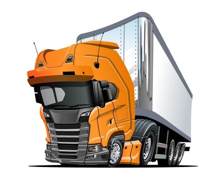 Camion semi de dessin animé. Format vectoriel EPS-10 disponible séparé par groupes et calques avec effets de transparence pour une recoloration en un clic