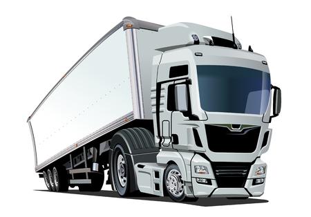 Camion semi-remorque de dessin animé. Format vectoriel EPS-10 disponible séparé par groupes et calques avec effets de transparence pour une recoloration en un clic Vecteurs