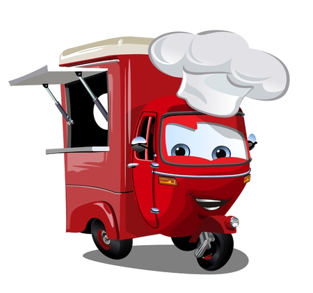 Vector cartoon food truck scooter. Available EPS-10 format separated by groups and layers vith transparency effects for one-click repaint