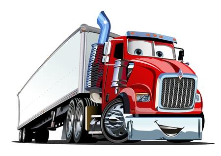 Camión semi de carga de dibujos animados aislado sobre fondo blanco. Formato EPS-10 disponible separado por grupos y capas para editar fácilmente