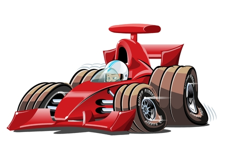 Cartoon race car. Available vector format separated by groups and layers for easy edit