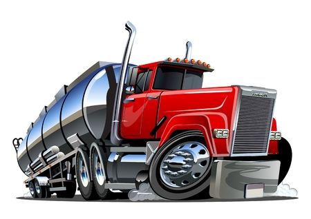 Cartoon semi tanker truck. Available EPS-10 vector format separated by groups and layers with transparency effects for one-click recolour Vector Illustratie