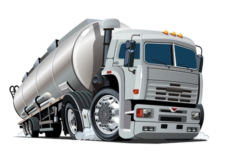 Cartoon semi tanker truck. Available vector format separated by groups and layers with transparency effects for one-click recolour