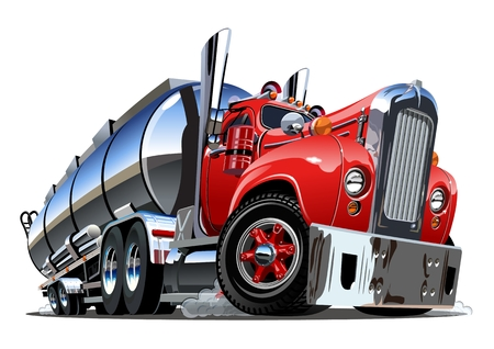Cartoon semi tanker truck. Available EPS-10 vector format separated by groups and layers with transparency effects for one-click recolour