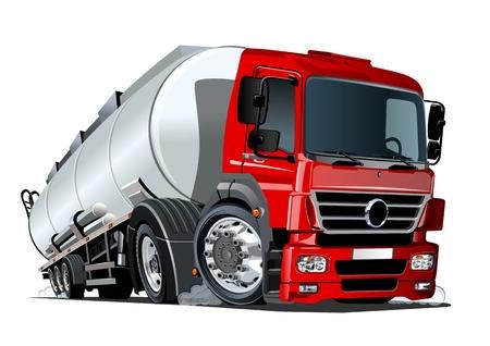 Cartoon semi tankwagen. Beschikbare vectorindeling gescheiden door groepen en lagen met transparantie-effecten voor opnieuw kleuren met één klik Vector Illustratie