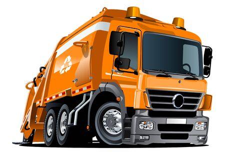 Camión de basura de dibujos animados aislado sobre fondo blanco
