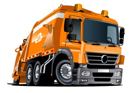 Camion à ordures de dessin animé isolé sur fond blanc