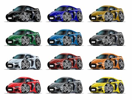 Cartoon sport car set isolated on white 版權商用圖片