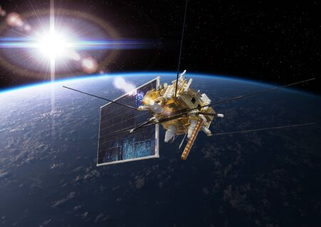 Modern meteorological space satellite monitoring Earth from orbit