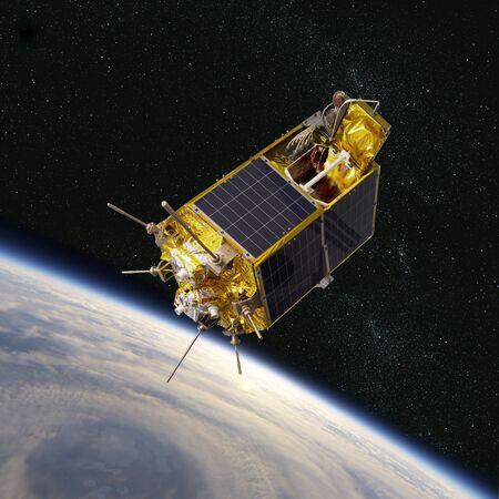 Moderno satélite espacial científico y educativo en órbita