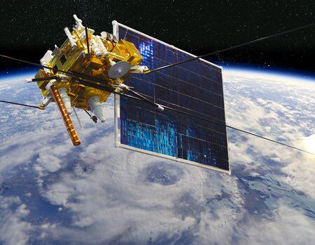 Modern meteorological satellite at the Earth orbit