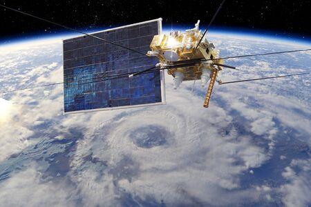Modern meteorological satellite at the Earth orbit Stock Photo