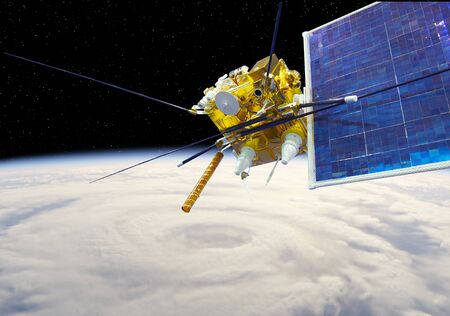 Satélite meteorológico moderno en la órbita terrestre Foto de archivo