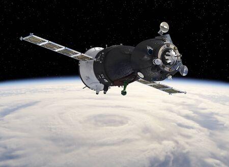 Nave espacial orbitando la Tierra. Ilustración 3D.