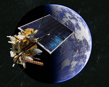 Modern weather scientific satellite at the Earth orbit 版權商用圖片 - 127602718