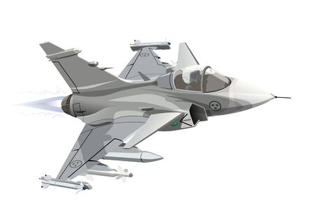 Vector Cartoon Military Jet Fighter Plane. Available EPS-10 vector format separated by groups and layers for easy edit
