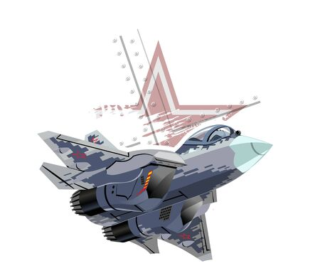 Cartoon modern military fighter plane Banque d'images - 127745255