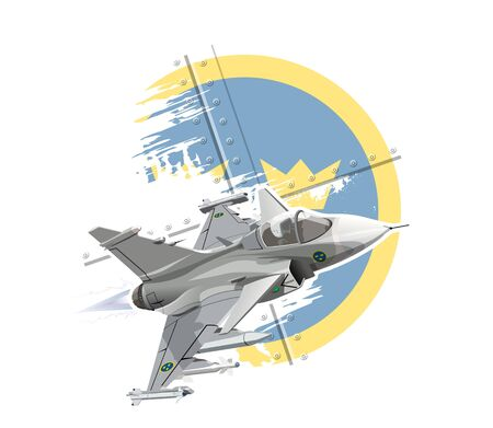 Vector Cartoon Fighter Plane. Available EPS-10 vector format separated by groups and layers for easy edit Ilustração