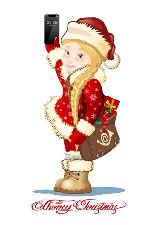 Christmas card with cartoon Snow Maiden - Postman Ilustracja