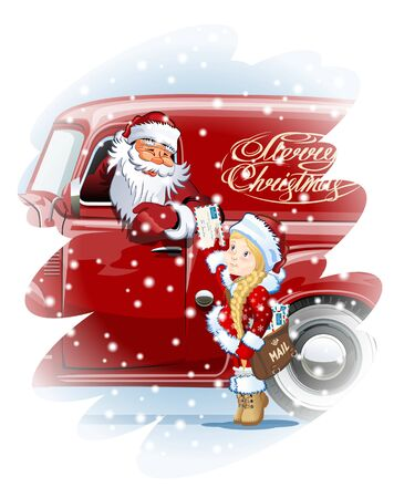 Christmas card with Santa and Snow Maiden-Postman