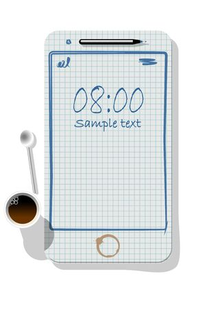 Smartphone metaphore for different advertising concepts with notepad, pen, a paper cup of coffee