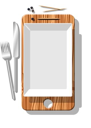 Smartphone metaphore for different advertising concepts with cutting board, dish, black pepper, toothpicks, cutlery Ilustracja