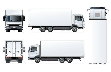 자동차 브랜딩 및 광고에 대 한 흰색 절연 벡터 트럭 템플릿. 한 번의 클릭으로 다시 칠할 수있는 투명 효과를 사용하여 그룹 및 레이어로 구분 된 사용 가능한 EPS-10. 벡터 (일러스트)