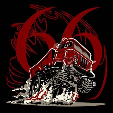 Cartoon muscle semi truck Illustration