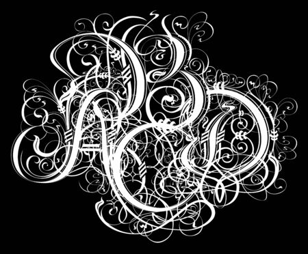 Gothic abstract calligraphy. Uncial Fraktur.
