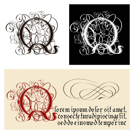 Decorative Gothic Letter Q. Uncial Fraktur calligraphy. Vector Eps-8 separated by groups and layers for easy edit.