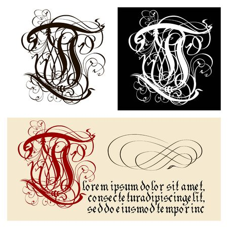 Decorative Gothic Letter T. Uncial Fraktur calligraphy. Vector Eps-8 separated by groups and layers for easy edit.