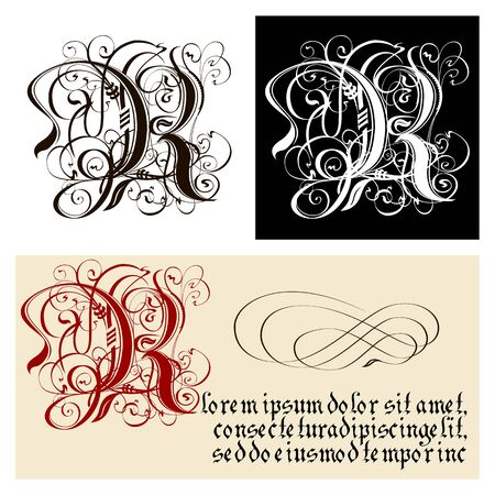 Decorative Gothic Letter R. Uncial Fraktur calligraphy. Vector Eps-8 separated by groups and layers for easy edit.