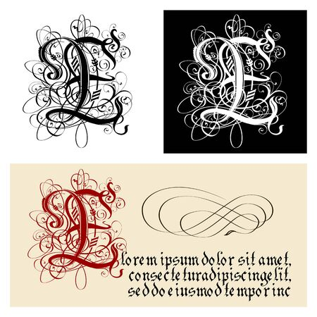 Decorative Gothic Letter E. Uncial Fraktur calligraphy. Vector Eps-8 separated by groups and layers for easy edit.