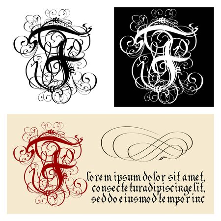 Decorative Gothic Letter F. Uncial Fraktur calligraphy. Vector Eps-8 separated by groups and layers for easy edit.