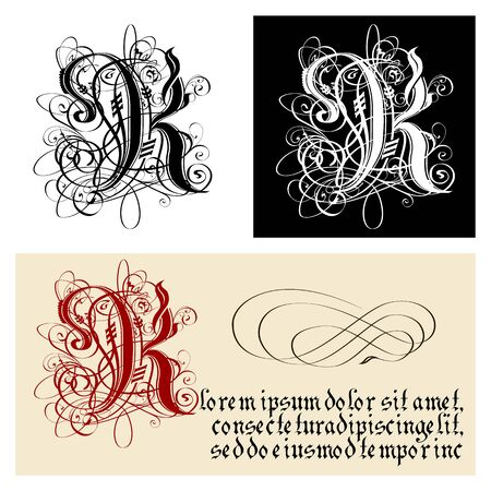 Decorative Gothic Letter K. Uncial Fraktur calligraphy. Vector Eps-8 separated by groups and layers for easy edit.