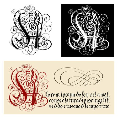 Decorative Gothic Letter H. Uncial Fraktur calligraphy. Vector Eps-8 separated by groups and layers for easy edit.