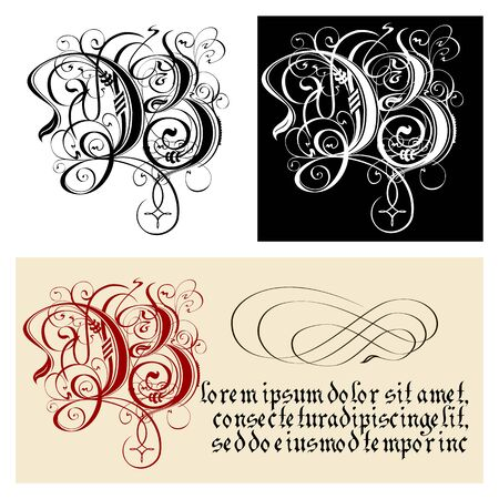 Decorative Gothic Letter B. Uncial Fraktur calligraphy. Vector Eps-8 separated by groups and layers for easy edit.