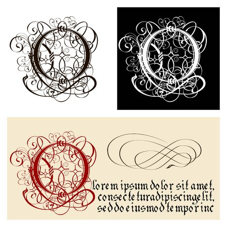 Decorative Gothic Letter O. Uncial Fraktur calligraphy. Vector Eps-8 separated by groups and layers for easy edit.