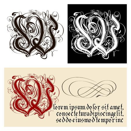 Decorative Gothic Letter W. Uncial Fraktur calligraphy. Vector Eps-8 separated by groups and layers for easy edit.
