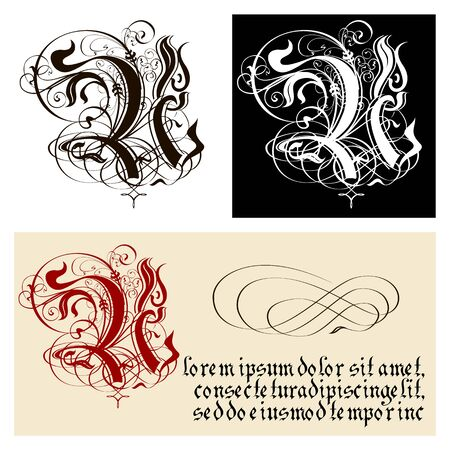 Decorative Gothic Letter U. Uncial Fraktur calligraphy. Vector Eps-8 separated by groups and layers for easy edit.