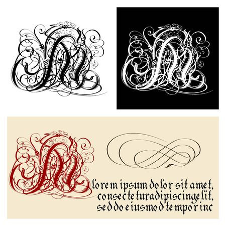 Decorative Gothic Letter M. Uncial Fraktur calligraphy. Vector Eps-8 separated by groups and layers for easy edit.