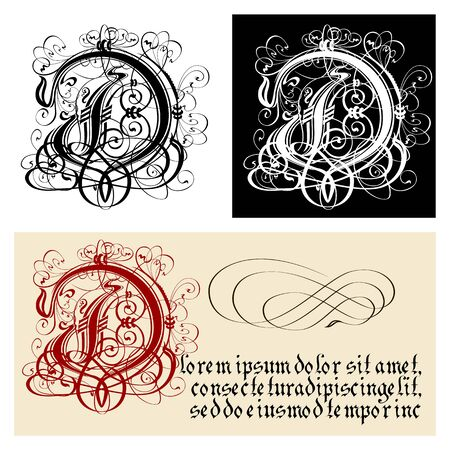 Decorative Gothic Letter D. Uncial Fraktur calligraphy. Vector Eps-8 separated by groups and layers for easy edit.